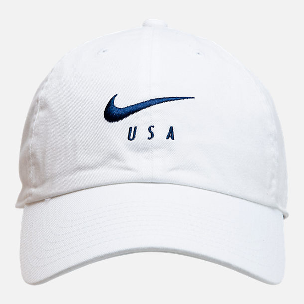 Back view of Nike Heritage86 U.S. Soccer Strapback Hat in White/Navy