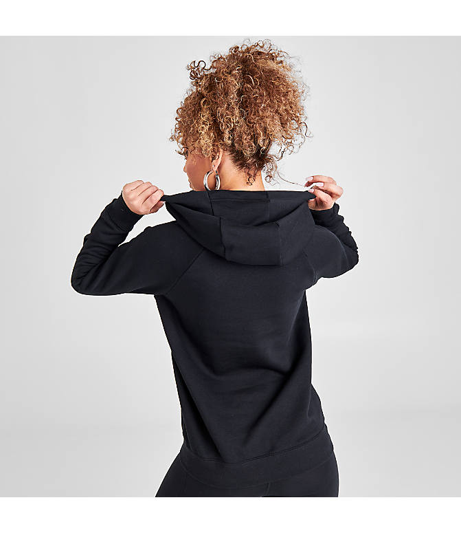 Back Left view of Women's Nike Sportswear Essential Hoodie in Black/White