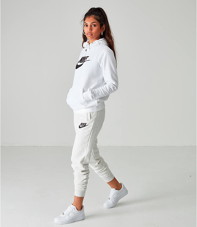 Front Three Quarter view of Women's Nike Sportswear Essential Hoodie in White