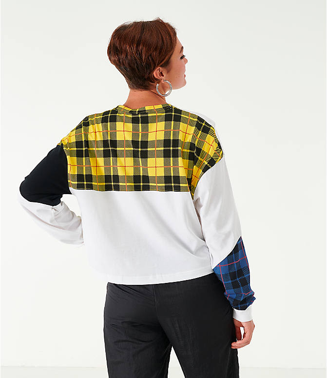 Back Left view of Women's Nike Sportswear Plaid Long-Sleeve Cropped T-Shirt in White/Plaid