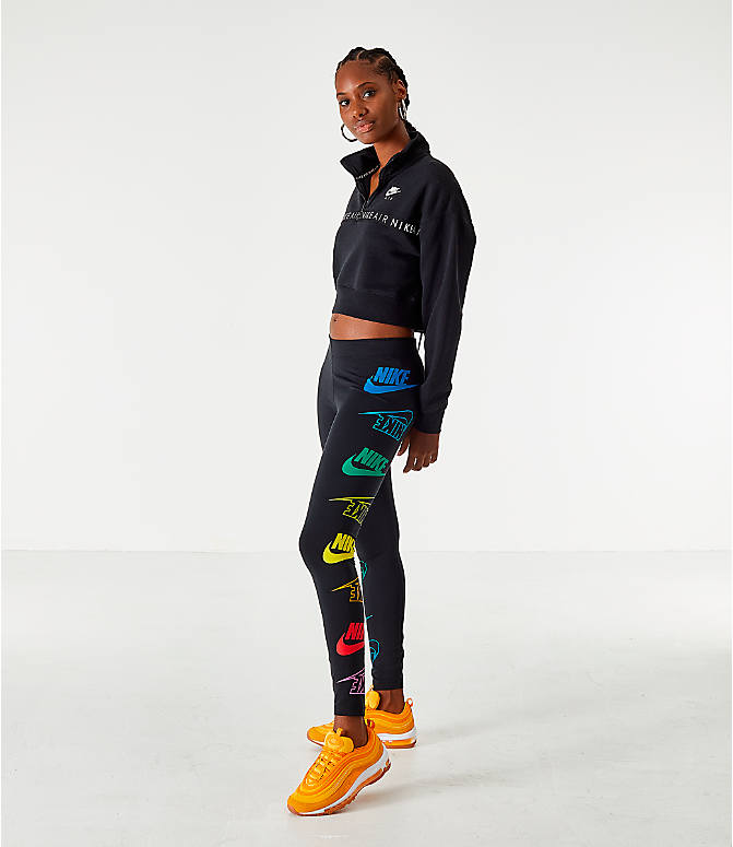 Front Three Quarter view of Women's Nike Sportswear Air Half-Zip Top in Black