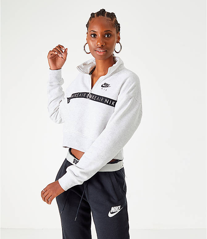 Front view of Women's Nike Sportswear Air Half-Zip Top in Birch Heather