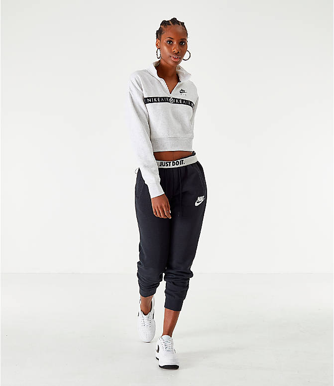 Front Three Quarter view of Women's Nike Sportswear Air Half-Zip Top in Birch Heather