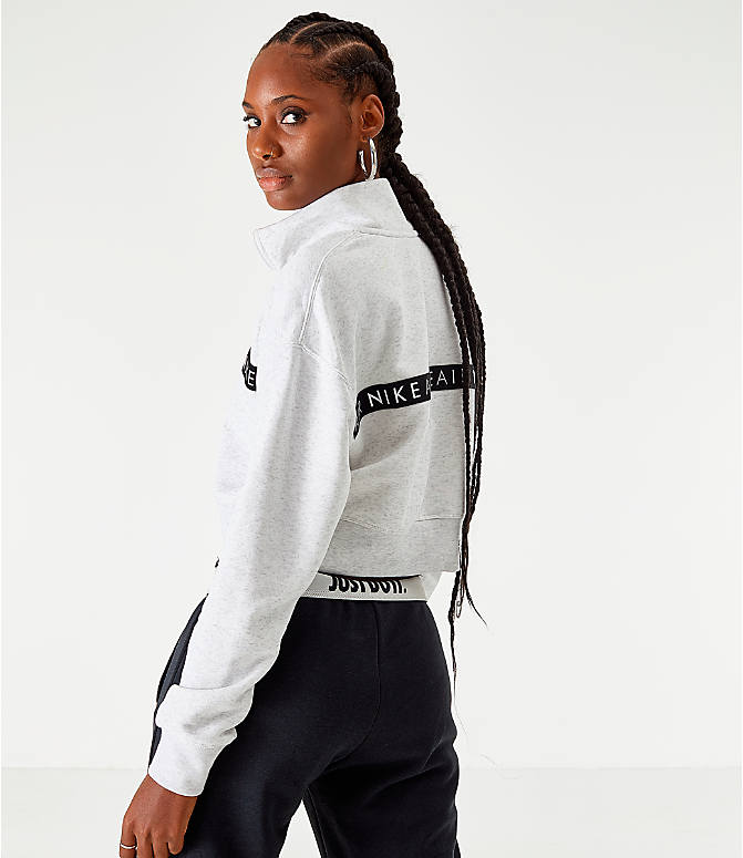 Back Right view of Women's Nike Sportswear Air Half-Zip Top in Birch Heather