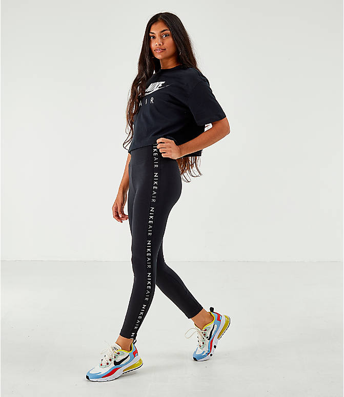 Front Three Quarter view of Women's Nike Sportswear Air Tape Leggings in Black