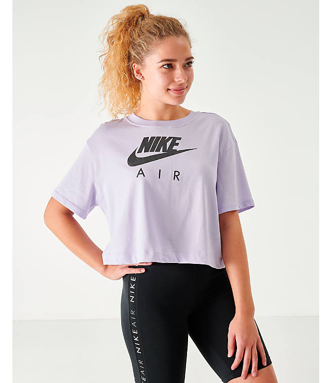 Front view of Women's Nike Air Cropped T-Shirt in Lavendar Mist