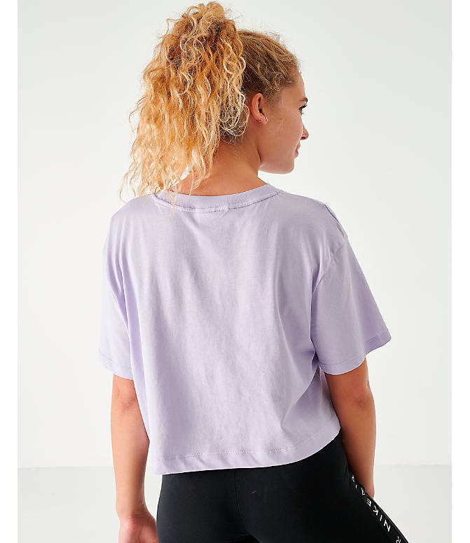 Back Left view of Women's Nike Air Cropped T-Shirt in Lavendar Mist
