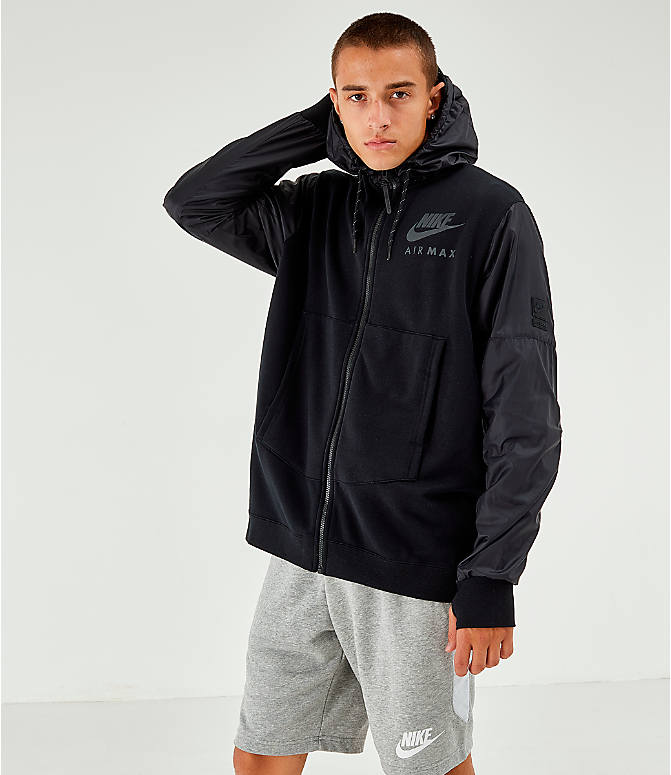 Front view of Men's Nike Air Max French Terry Full-Zip Hoodie in Black