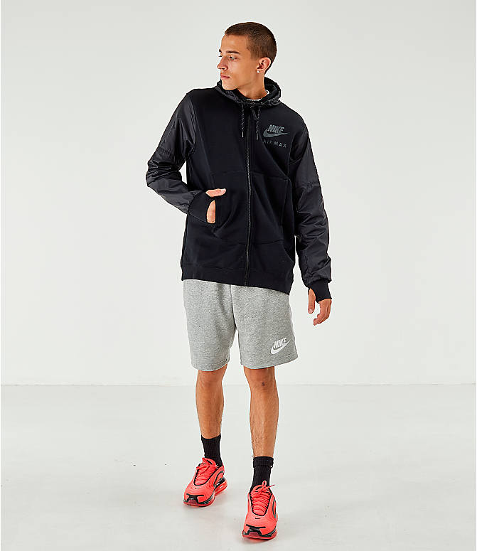 Front Three Quarter view of Men's Nike Air Max French Terry Full-Zip Hoodie in Black