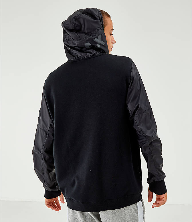 Back Left view of Men's Nike Air Max French Terry Full-Zip Hoodie in Black