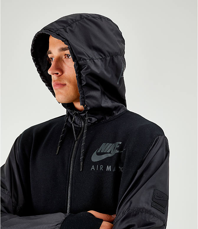 Back Right view of Men's Nike Air Max French Terry Full-Zip Hoodie in Black