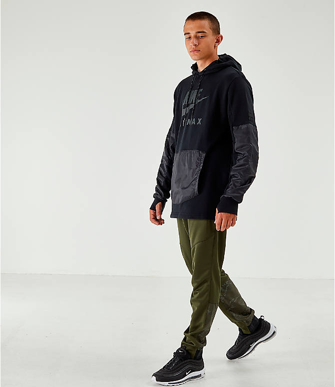 Front Three Quarter view of Men's Air Max Poly Jogger Pants in Green