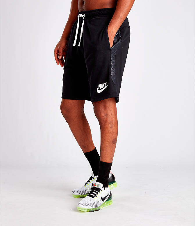 Front Three Quarter view of Men's Nike Sportswear Hybrid Shorts in Black