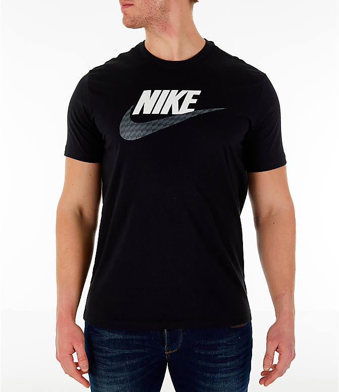 Front view of Men's Nike Sportswear Hybrid T-Shirt in Black