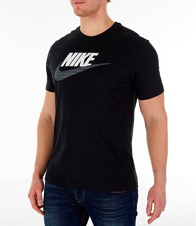 Front Three Quarter view of Men's Nike Sportswear Hybrid T-Shirt in Black