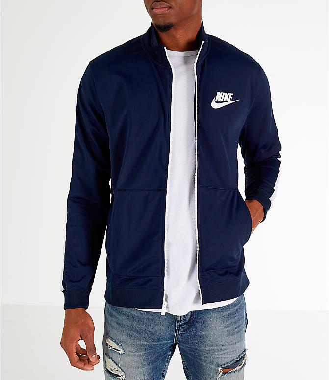 Front Three Quarter view of Men's Nike Sportswear Hybrid Track Jacket in Obsidian/White