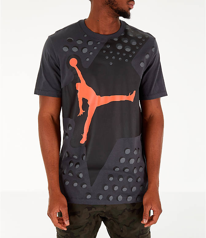 Front view of Men's Jordan Legacy AJ6 T-Shirt in Black