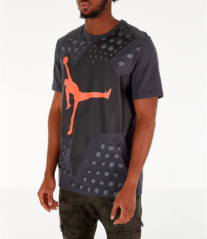 Front Three Quarter view of Men's Jordan Legacy AJ6 T-Shirt in Black
