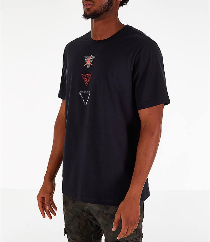 a5efb5e2d8ba65 Back Left view of Men s Air Jordan Retro 4 Splatter T-Shirt in Black