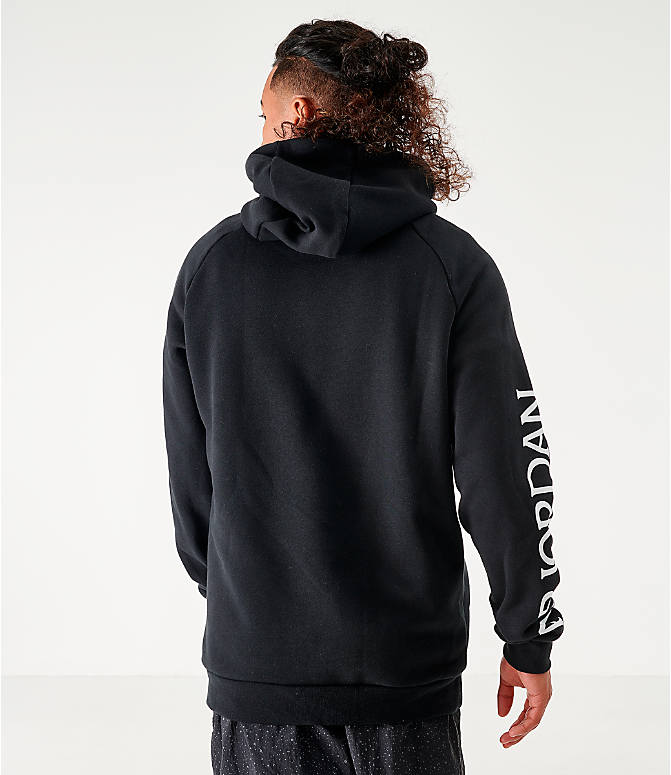 Back Left view of Men's Jordan Mashup Jumpman Classics Fleece Hoodie in Black/White