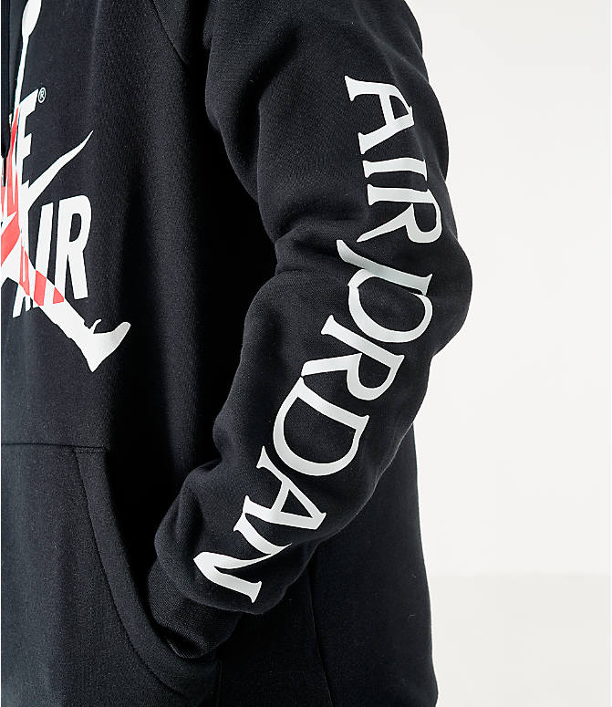 On Model 5 view of Men's Jordan Mashup Jumpman Classics Fleece Hoodie in Black/White