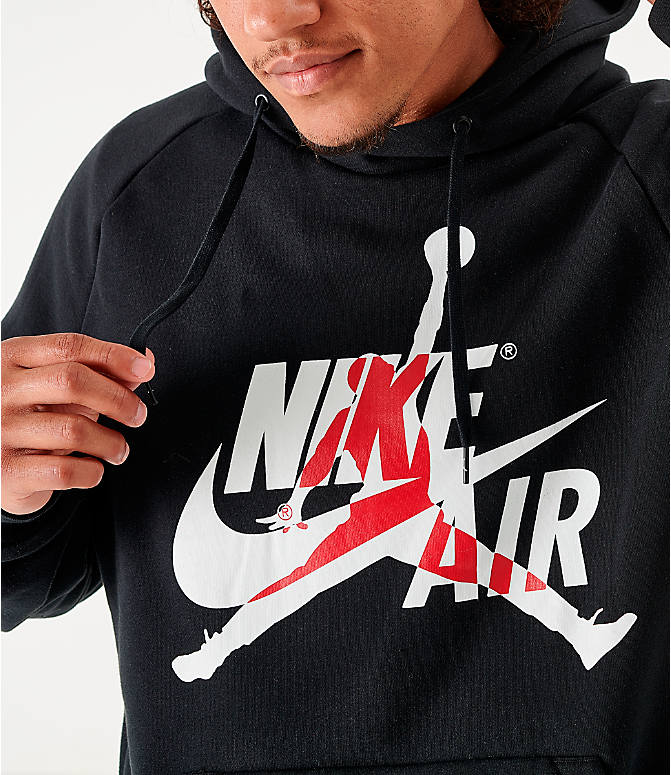 On Model 6 view of Men's Jordan Mashup Jumpman Classics Fleece Hoodie in Black/White
