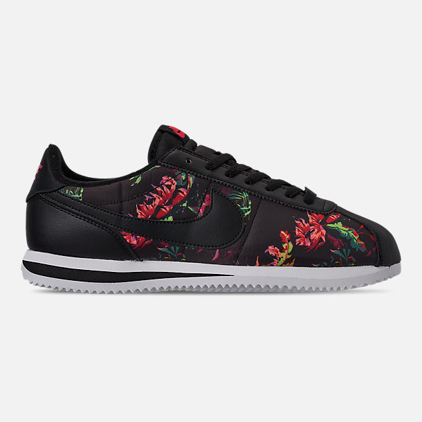 buy popular e80df ff50d Right view of Mens Nike Cortez Basic Floral Casual Shoes in BlackBlackRed