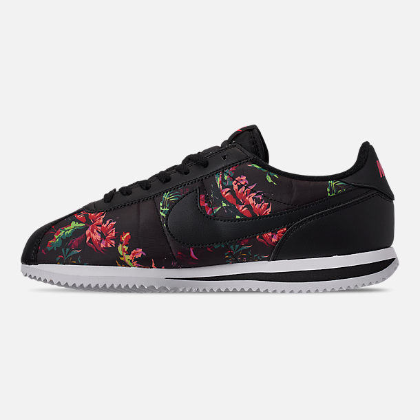 the best attitude 7bb2d 00770 Left view of Mens Nike Cortez Basic Floral Casual Shoes in BlackBlackRed