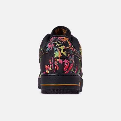 Back view of Men's Nike Air Force 1 '07 LV8 Floral Casual Shoes in Black/Multi Color/Canyon Gold/Lucid