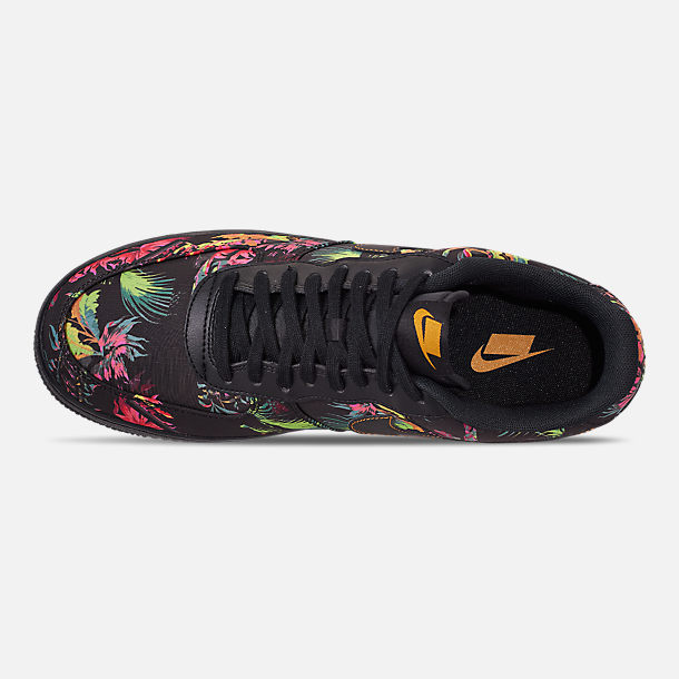 Top view of Men's Nike Air Force 1 '07 LV8 Floral Casual Shoes in Black/Multi Color/Canyon Gold/Lucid