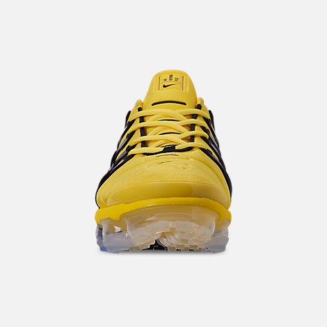 Front view of Men's Nike Air VaporMax Plus Running Shoes in Opti Yello/Black/Opti Yellow/White