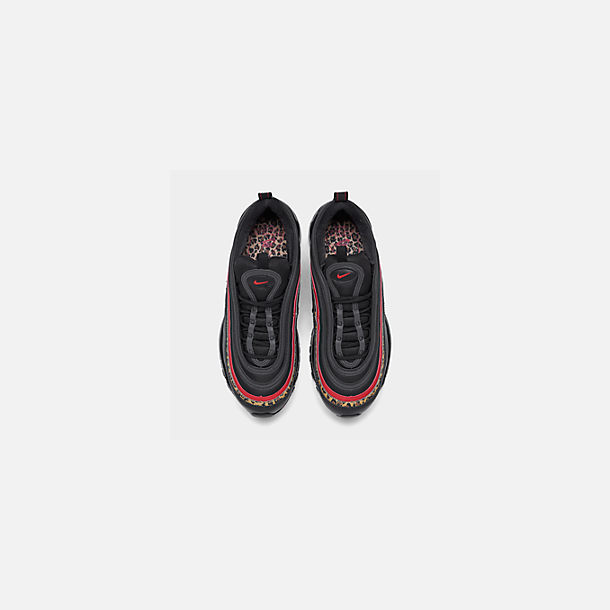 Back view of Women's Nike Air Max 97 Casual Shoes in Black/University Red/Print
