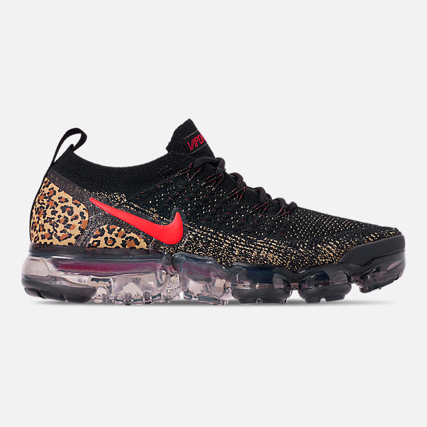 Right view of Women's Nike Air VaporMax Flyknit 2 Running Shoes in Black/Black/Print/Club Gold/University Red