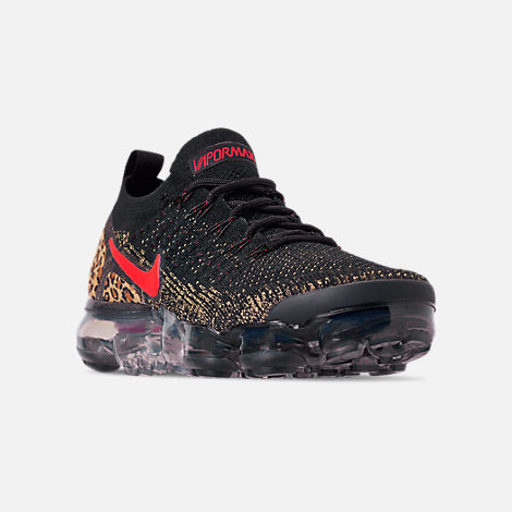 Three Quarter view of Women's Nike Air VaporMax Flyknit 2 Running Shoes in Black/Black/Print/Club Gold/University Red