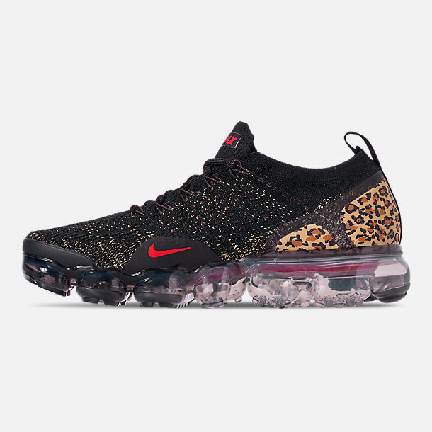 Left view of Women's Nike Air VaporMax Flyknit 2 Running Shoes in Black/Black/Print/Club Gold/University Red