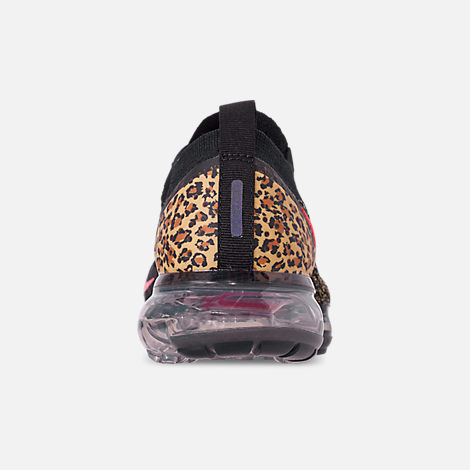 Back view of Women's Nike Air VaporMax Flyknit 2 Running Shoes in Black/Black/Print/Club Gold/University Red