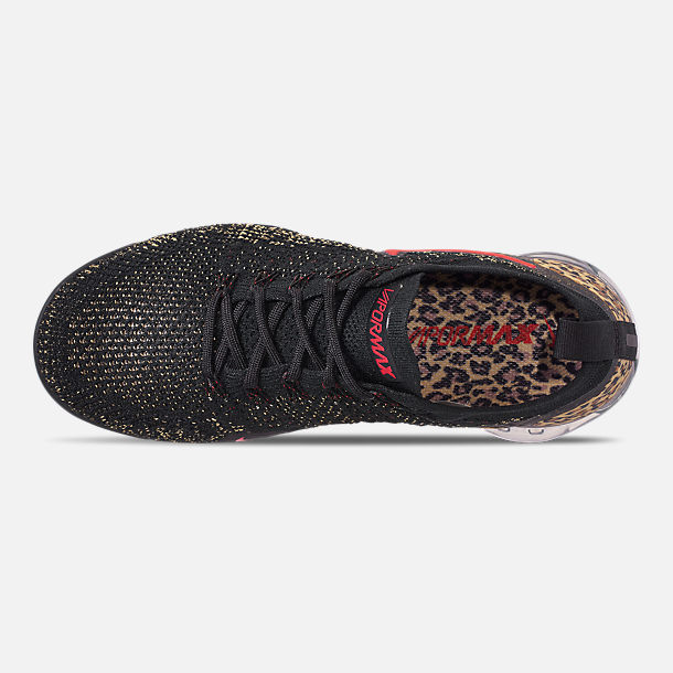 Top view of Women's Nike Air VaporMax Flyknit 2 Running Shoes in Black/Black/Print/Club Gold/University Red