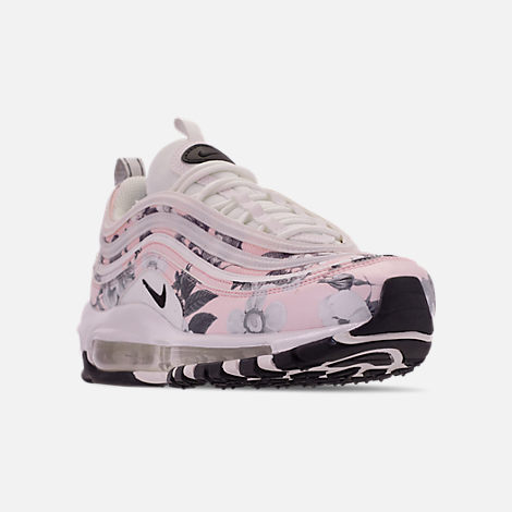 Three Quarter view of Women's Nike Air Max 97 Print Casual Shoes in Pale Pink/Black/White