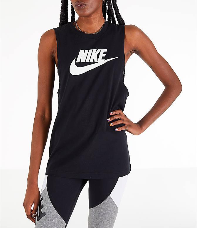 Front view of Women s Nike Sportswear Essential Muscle Tank in Black White 666b4bda6