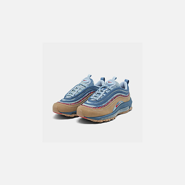 Three Quarter view of Big Kids' Nike Air Max 97 Casual Shoes in Parachute Beige/University Red