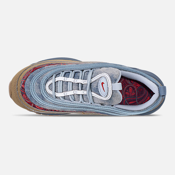 Top view of Big Kids' Nike Air Max 97 Casual Shoes in Parachute Beige/University Red
