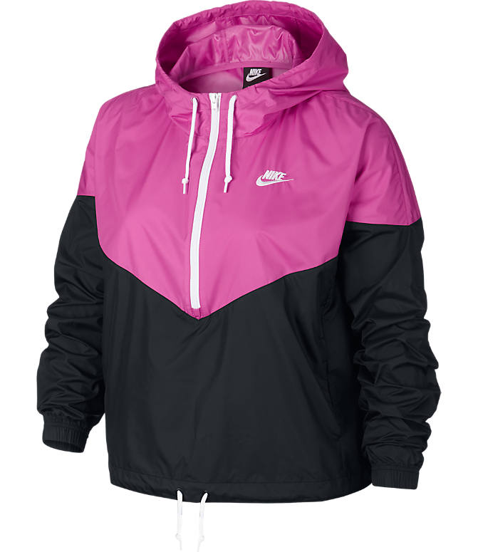 Front view of Women's Nike Sportswear Heritage Jacket - Plus Size in Black/Active Fuchsia/White