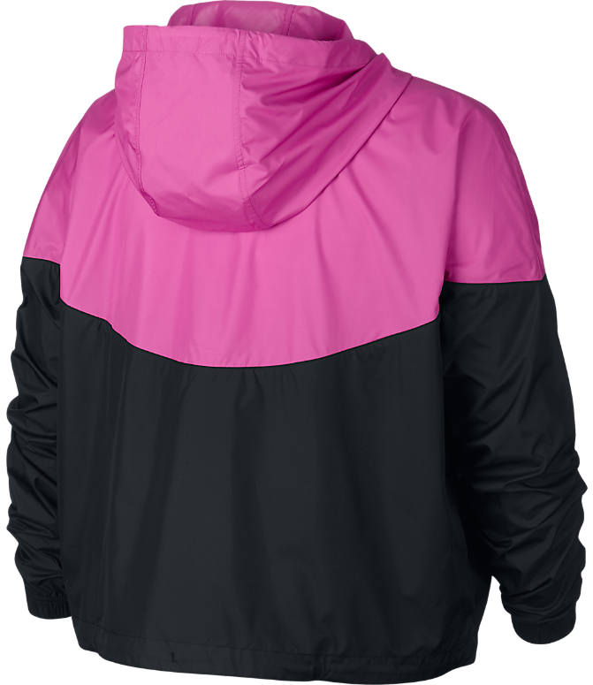 Back view of Women's Nike Sportswear Heritage Jacket - Plus Size in Black/Active Fuchsia/White