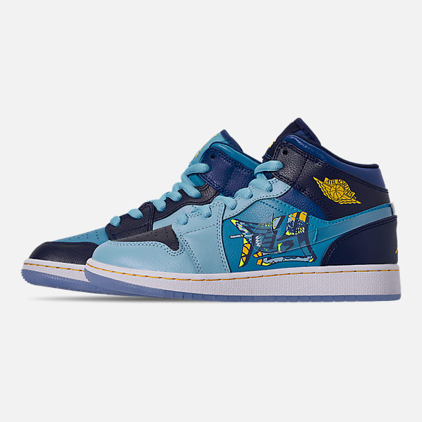 Left view of Boys' Big Kids' Air Jordan 1 Mid Fly Casual Shoes