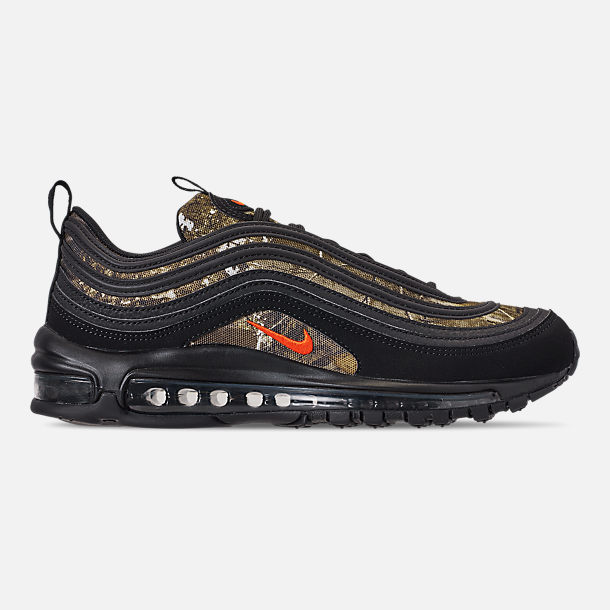 Right view of Men's Nike Air Max 97 Realtree Casual Shoes in Black/Team Orange/Black