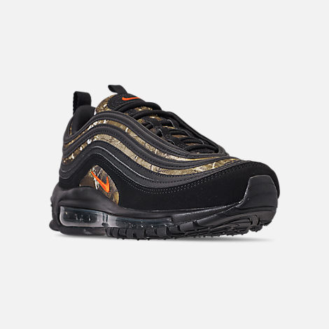 Three Quarter view of Men's Nike Air Max 97 Realtree Casual Shoes in Black/Team Orange/Black