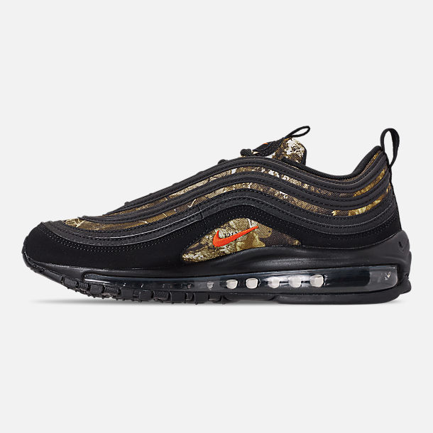 Left view of Men's Nike Air Max 97 Realtree Casual Shoes in Black/Team Orange/Black