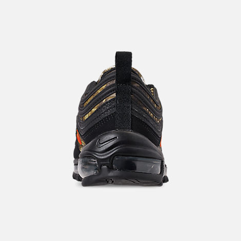 Back view of Men's Nike Air Max 97 Realtree Casual Shoes in Black/Team Orange/Black