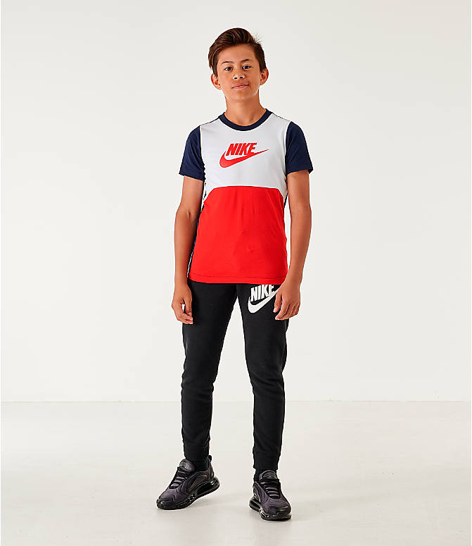 Front Three Quarter view of Boys' Nike Sportswear Hybrid T-Shirt in Obsidian/White/University Red