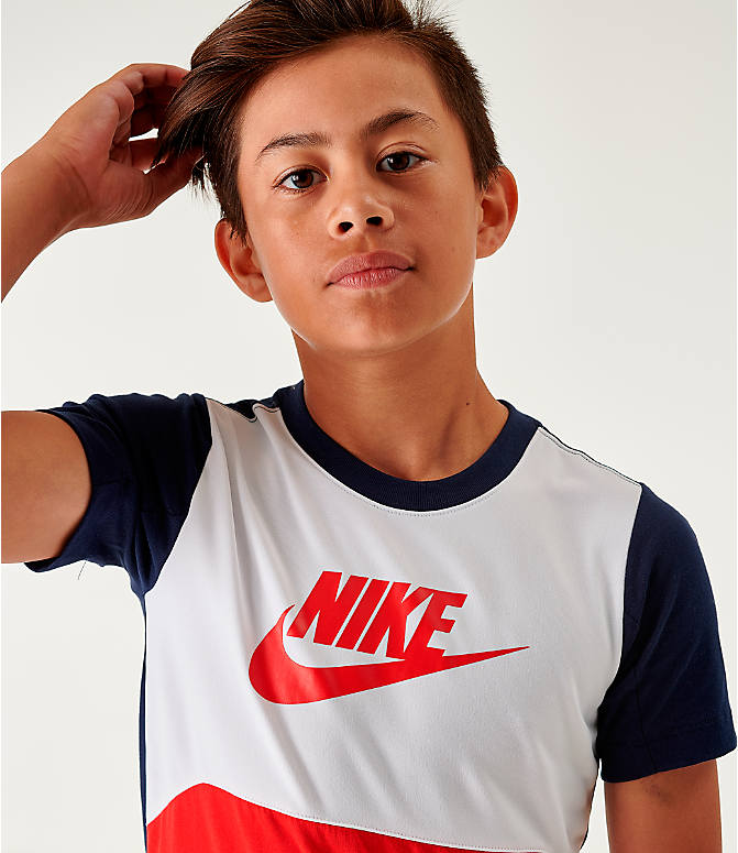 Back Right view of Boys' Nike Sportswear Hybrid T-Shirt in Obsidian/White/University Red